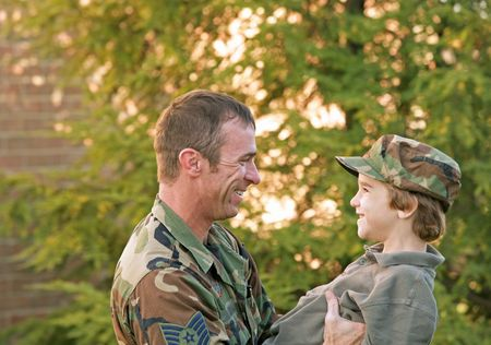 army face: Father and Son Stock Photo