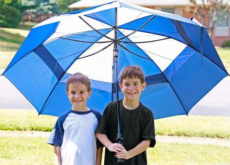 Boys Under an Umbrella