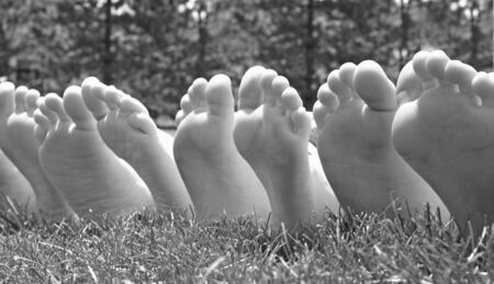 bare feet toes: Black and White Feet
