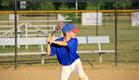 baseball swing: Boy Practicing Baseball
