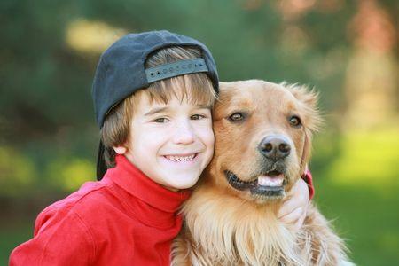 Little Boy and Dog photo