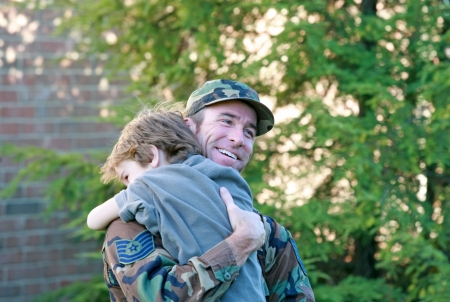 military uniform: Dad and Son Happy to See Each Other