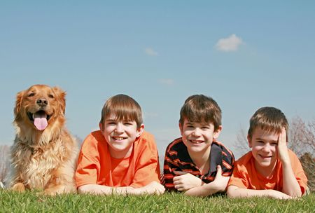 Three Boys and a Dog Stock Photo - 2848165