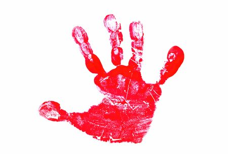 mess: Red Hand Print Stock Photo