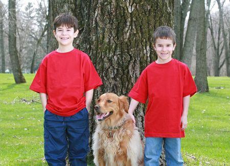 Children with Golden Retriever Stock Photo - 2993534