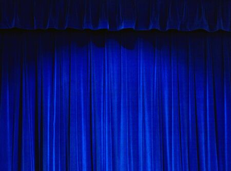 rideau de theatre: Rideau de th��tre bleu Banque d'images