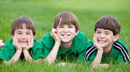 Three Boys in Green Stock Photo - 3124962