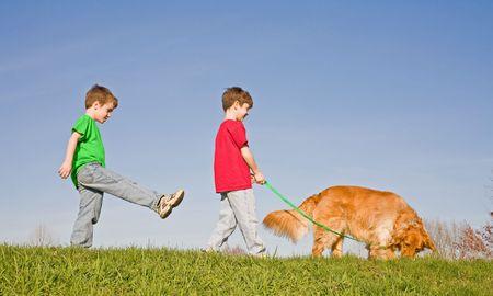 Boys Walking the dog Banque d'images