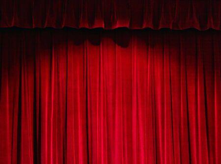 sipario chiuso: Teatro tenda rossa  Archivio Fotografico