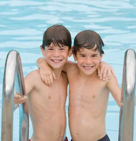 bros: Two Boys At The Pool Having Fun Together