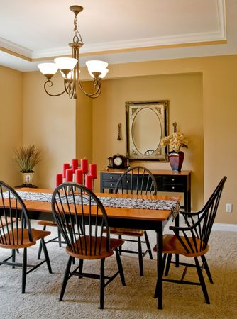 dining table and chairs: Dining Room Stock Photo