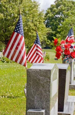 gravesite: Gravesite with American Flags