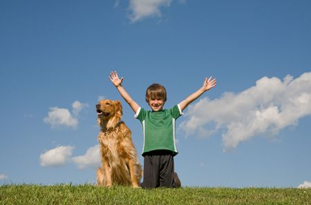 Boy With Dog in the Sky