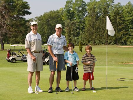 three generation: Family Playing Golf