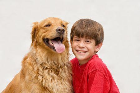 summer dog: Little Boy with Golden Retriever