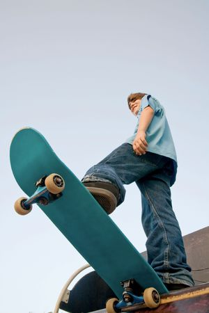 extreme angle: Teenager Skateboarding