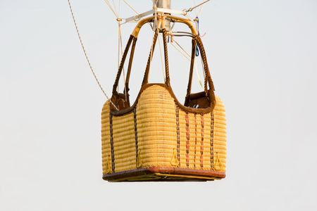 air: Empty Hot Air Balloon Basket Stock Photo