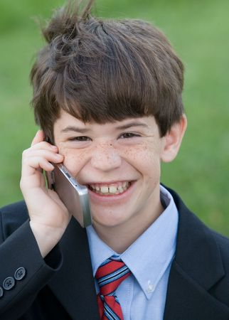 Little Boy Dressed up Talking on Cell Phone Stock Photo - 3705032