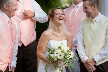 best party: Bride Laughing  Stock Photo