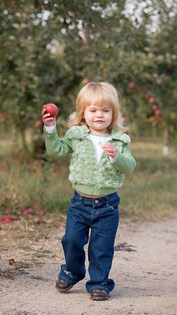 Little Girl Walking in Apple Orchard photo