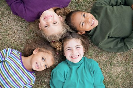 family fall: Four Girls Smiling Stock Photo