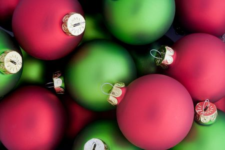 Red and Green Christmas Ornaments Banque d'images