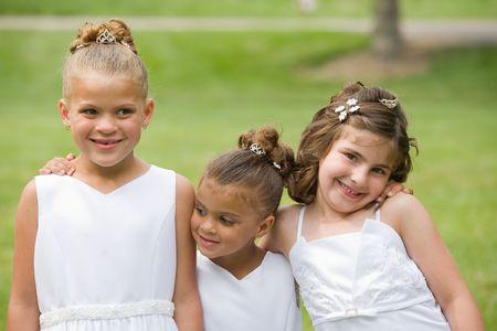dressed up: Three Girls at a Wedding Stock Photo