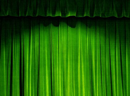 Green Theater Curtain Stok Fotoğraf