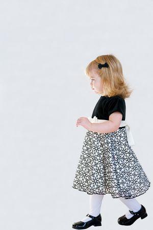 velvet dress: Little Girl Walking