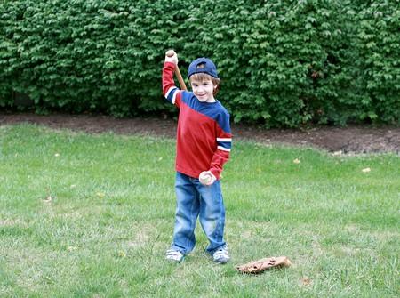 Little Boy Practicing His Baseball Stock Photo - 4127008
