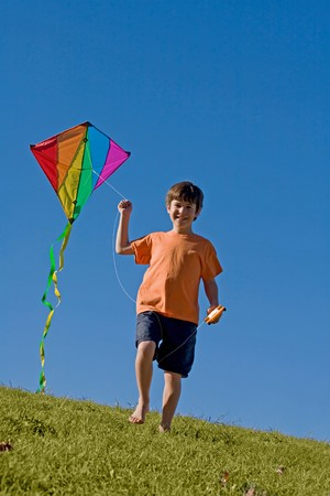 Boy voler un cerf-volant Banque d'images - 4173604