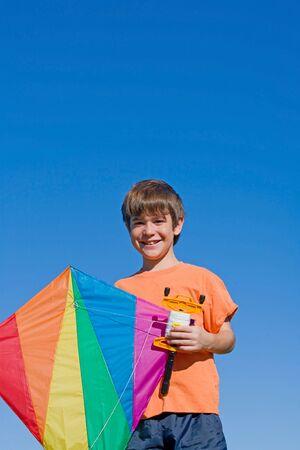 Boy Flying a Kite photo