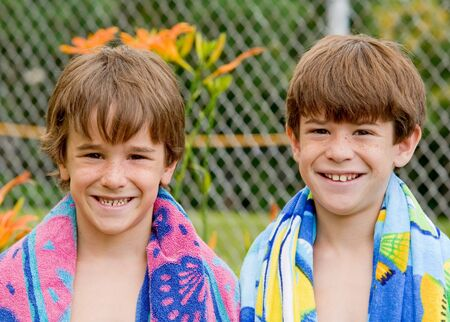 Brothers Going Swimming at the Pool
