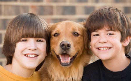Boys and a Dog Archivio Fotografico