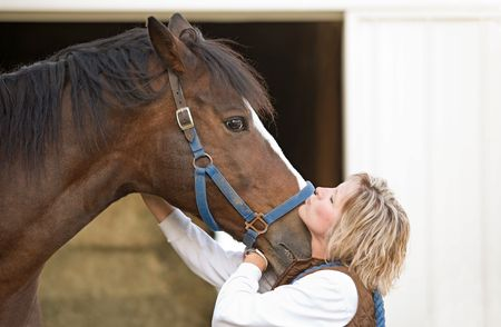 1 person: Woman Kissing Horse Stock Photo