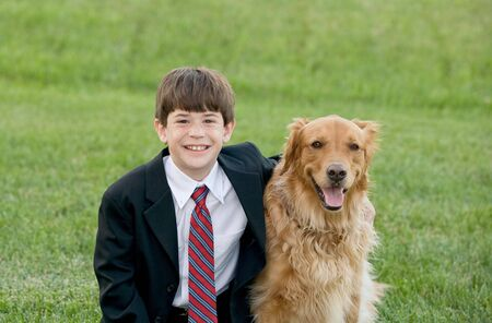 Boy Dressed Up with Dog Stock Photo - 4661819