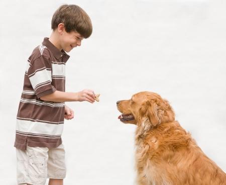 Boy Giving Dog a Reward photo