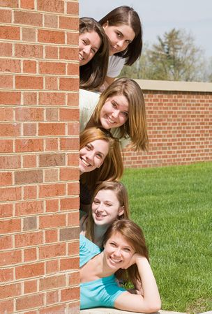 College Girls in a Row Stock Photo - 4838652