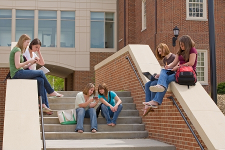 school campus: Active College Students Stock Photo