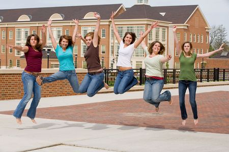 school campus: Group of College Girls Jumping
