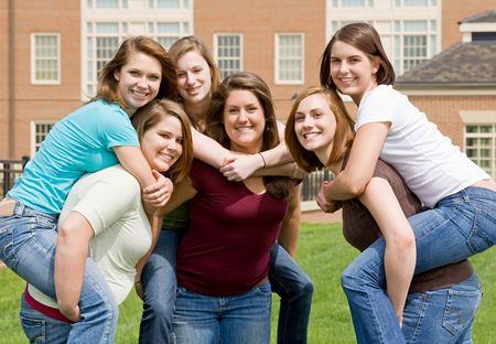 Group of College Girls Playing Around Stock Photo - 4902083