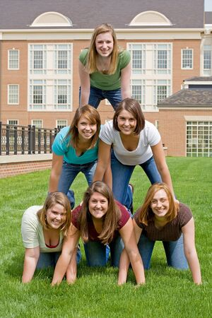 Group of College Girls In Pyramid Stock Photo - 4902081