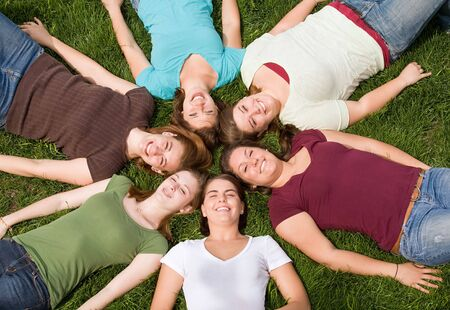Group of College Girls in a Circle Stock Photo - 4902082