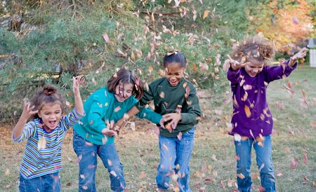 Girls Playing in the Fall Leaves Foto de archivo