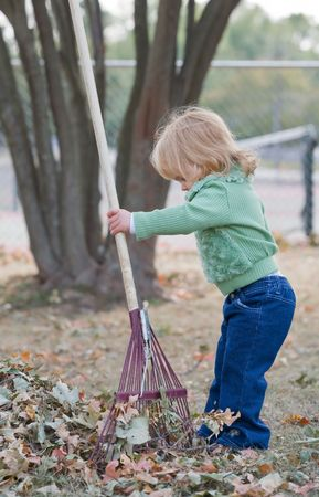 Girls Playing in Fall Leaves Banco de Imagens - 5485495