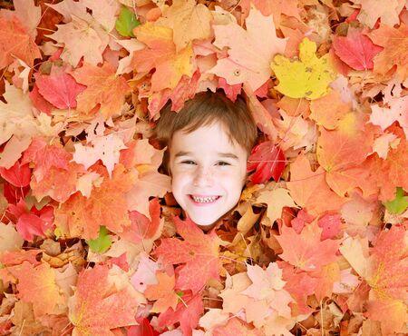 Little Boys Face in Autumn Leaves photo