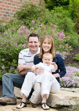 Happy Family of Three Smiling photo