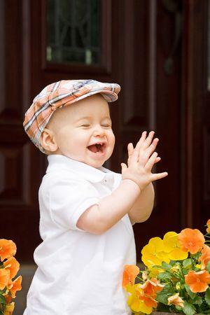 귀여운 어린 소년 박수 스톡 콘텐츠