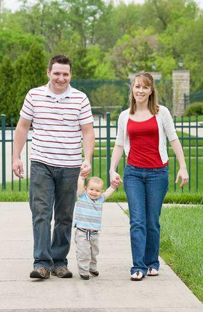 Happy Family Taking a Walk photo