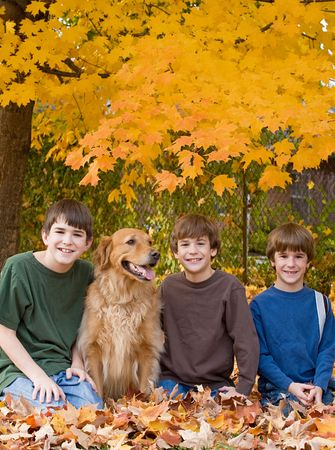 Boys in the Fall Leaves photo